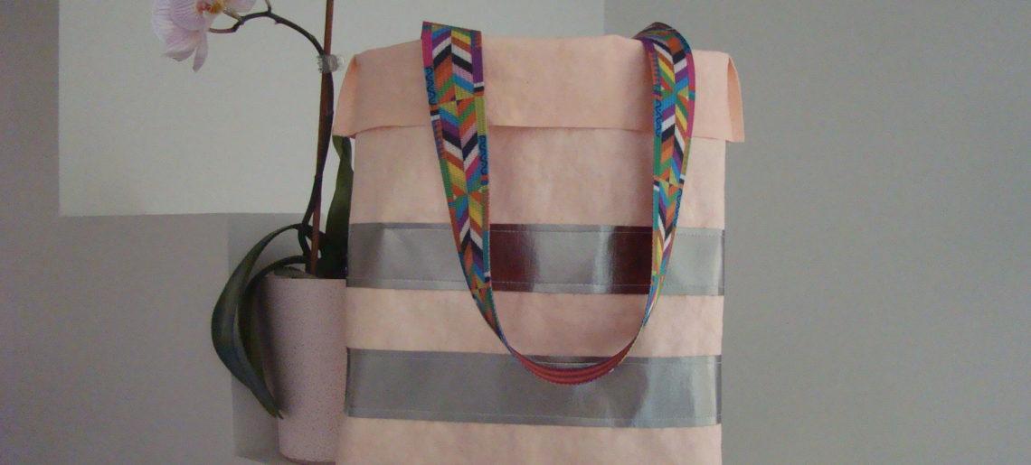 Letnia różowa torebka z WASHPAPY/ Washable Kraft Paper