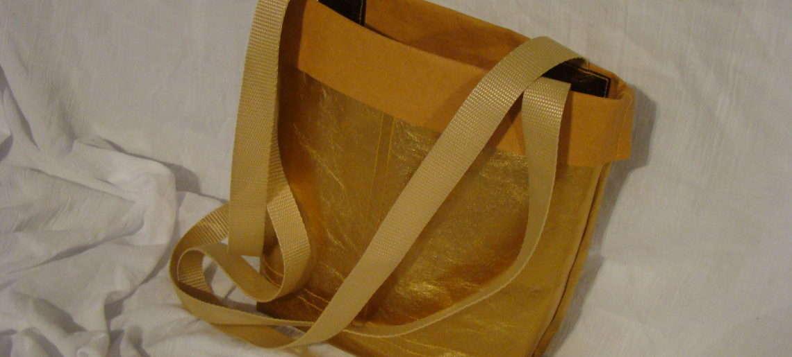 Złota torba z WASHPAPY / washable kraft paper SHINE dla AGATKI