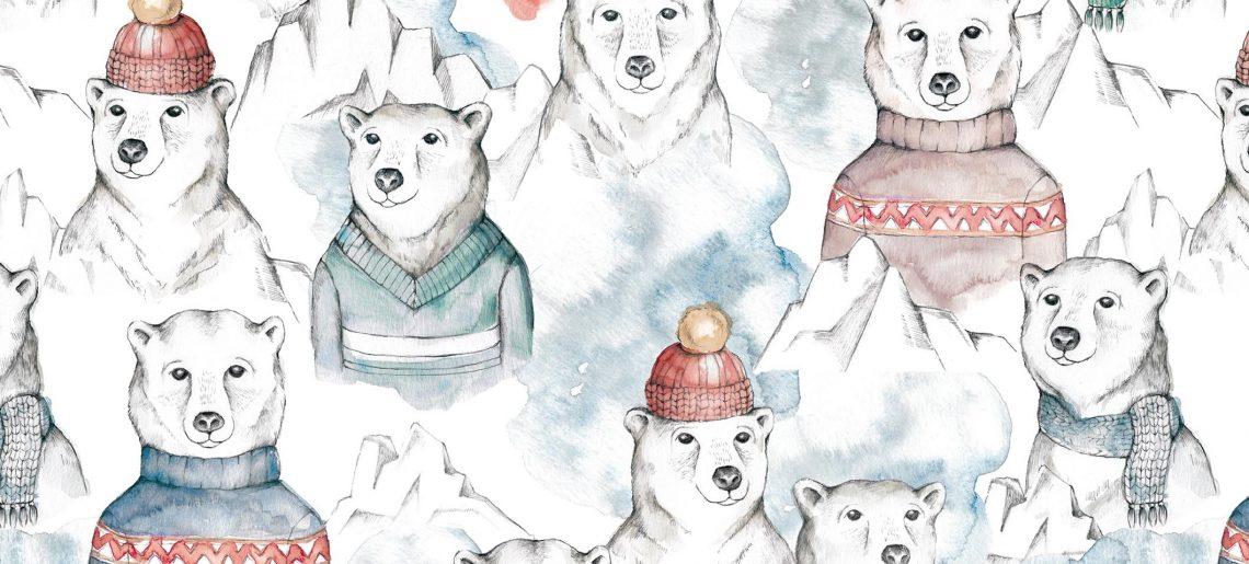 Dresówka pętelka POLAR BEAR ❄️miś polarny druk cyfrowy.